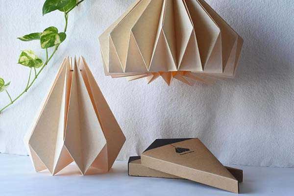 Brownfolds Light Peach Handmade Origami Lamp Shade
