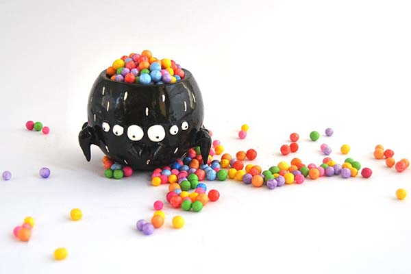 Handmade Halloween Candy Bowl Looks Like a Black Spider