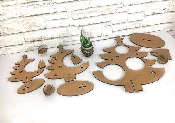 Handmade Cardboard Christmas Tree with Ornaments