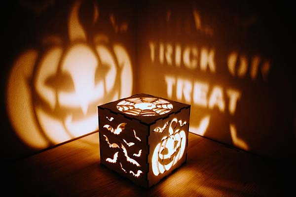 Handmade Halloween Pumpkin Tea Light Holder with Personalization