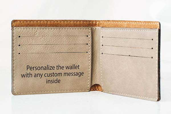 Handmade Leather Bifold Wallet with Optional Personalization