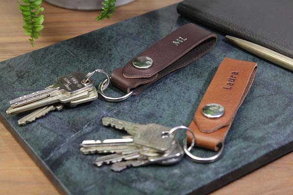 Handmade Leather Key Fob with Personalization