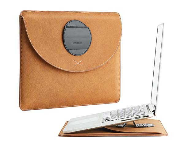 Handmade Leather MacBook Sleeve Doubles as Laptop Stand
