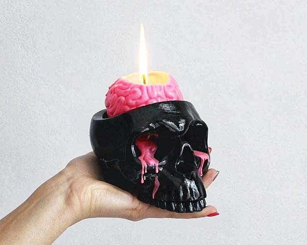 Handmade Skull Candle Holder with Human Brain Candle