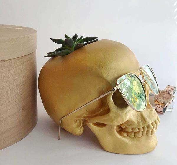 Handmade Skull Pen Holder Doubles as a Planter