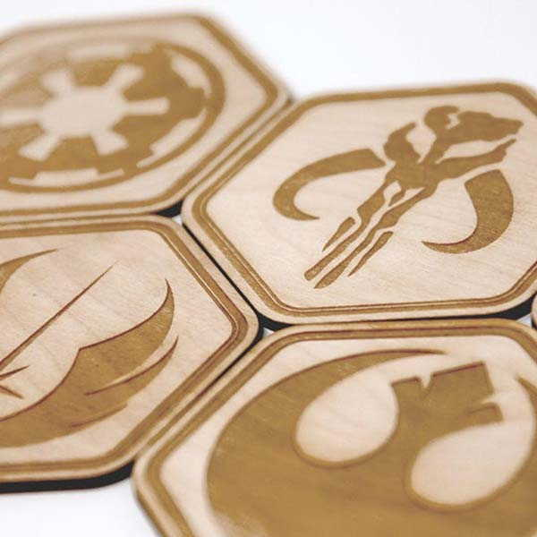Handmade Star Wars Coaster Set with Millennium Falcon Coaster Holder