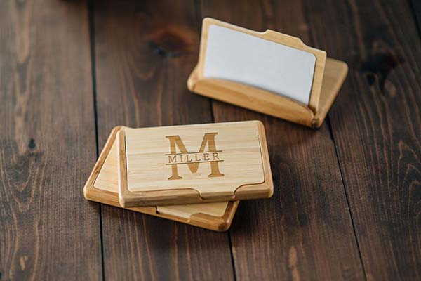 Handmade Wooden Business Card Holder with Personalization
