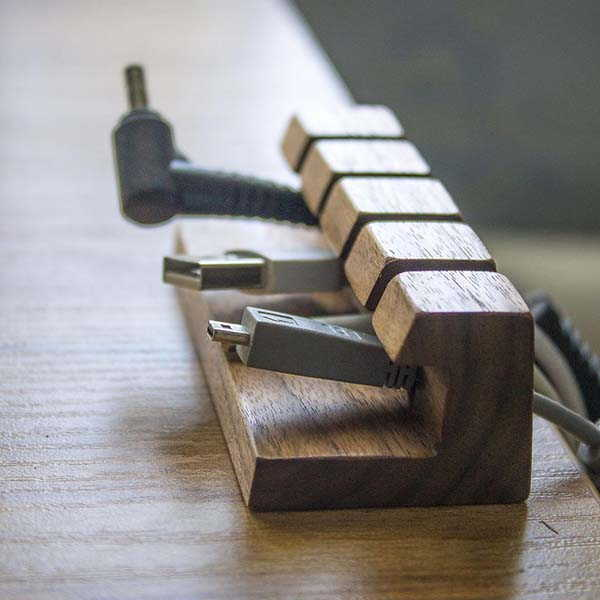 Handmade Wooden Cable Organizer with Personalization