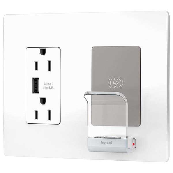 Legrand Radiant USB Wall Outlet with Wireless Charger