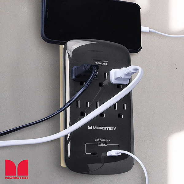 Monster Wall Tap Surge Protector with USB Wall Charger
