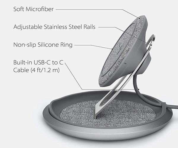 Moshi Lounge Q Wireless Charging Stand with Adjustable Height