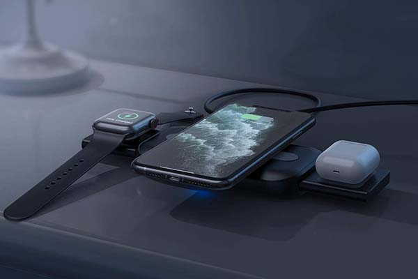 Nalwort 3-In-1 Portable Wireless Charging Station with Retractible Design