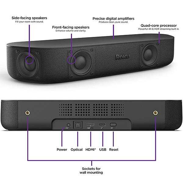 Roku Streambar Soundbar with 4K Streaming Media Player