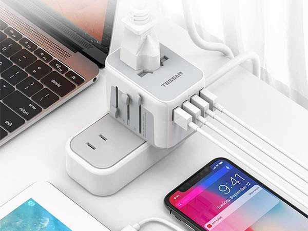 Tessan Universal Travel Adapter with 4 USB Ports
