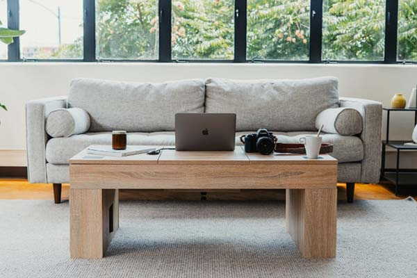 The Coolest Wooden Coffee Table with Dual Bluetooth Speakers, Fridge Compartment and More