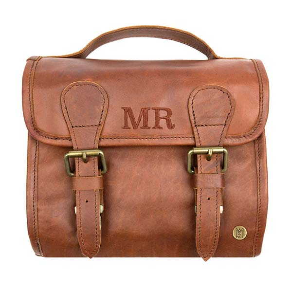 Harvard Personalized Leather Hanging Toiletry Bag