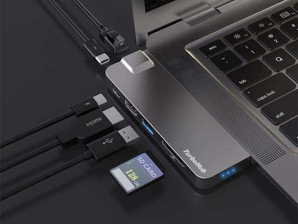 TurboHub 6-In-1 USB-C Adapter and Portable SSD for MacBook
