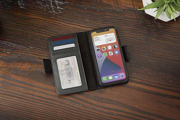Twelve South BookBook Vol. 2 iPhone 12 Leather Wallet Case with Removable Magnetic Cover