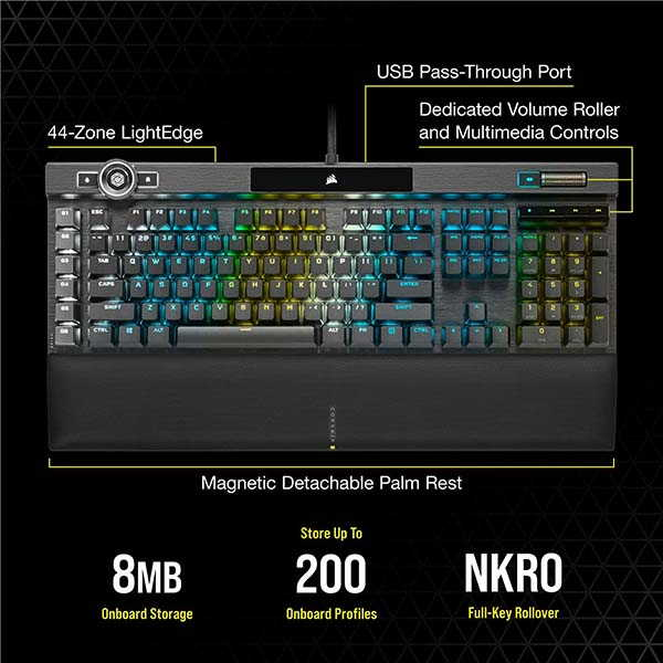 Corsair K100 RGB Mechanical Gaming Keyboard with iCUE Control Wheel