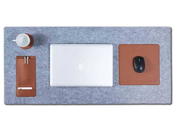 Handmade Wool Felt Desk Pad with Leather Mouse Pad, Drink Coaster and Pen Holder