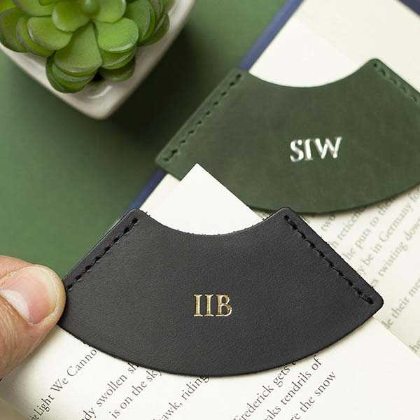 Handmade Initial Leather Bookmark with Personalization