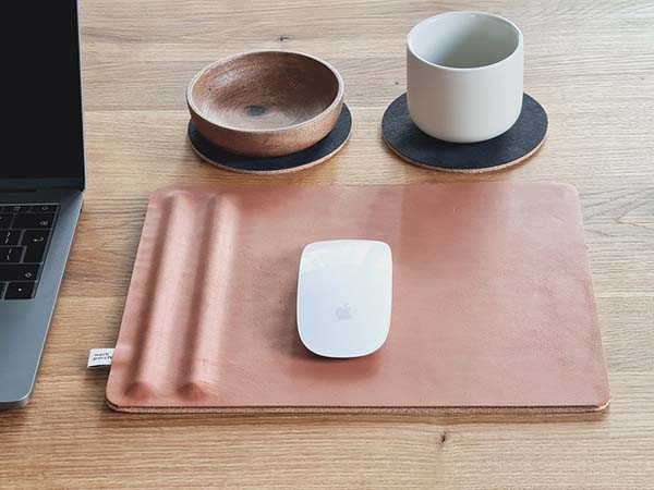 Handmade Leather Mouse Pad with Pen Holder