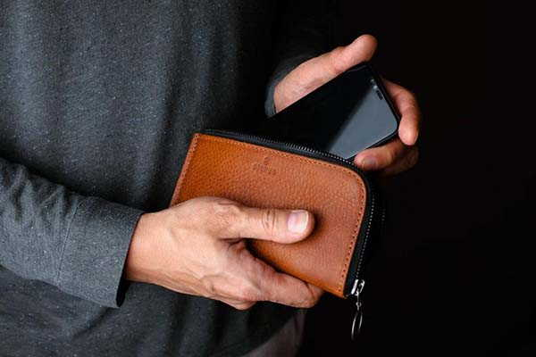 Handmade Personalized iPhone 12 Leather Wallet Case with YKK Zipper