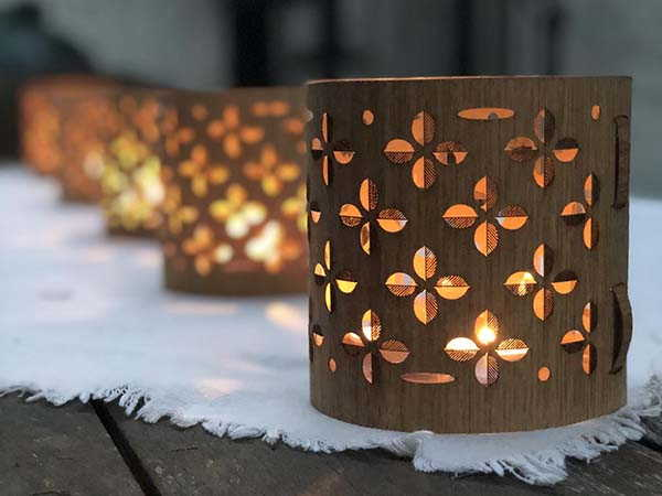 Handmade Snowflake Holiday Lantern with Glass Candle Holder
