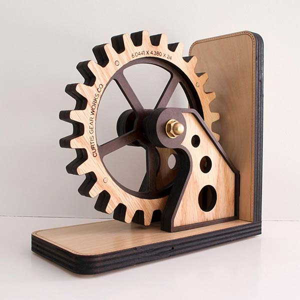 Handmade Steampunk Gear Wooden Bookend with Personalization