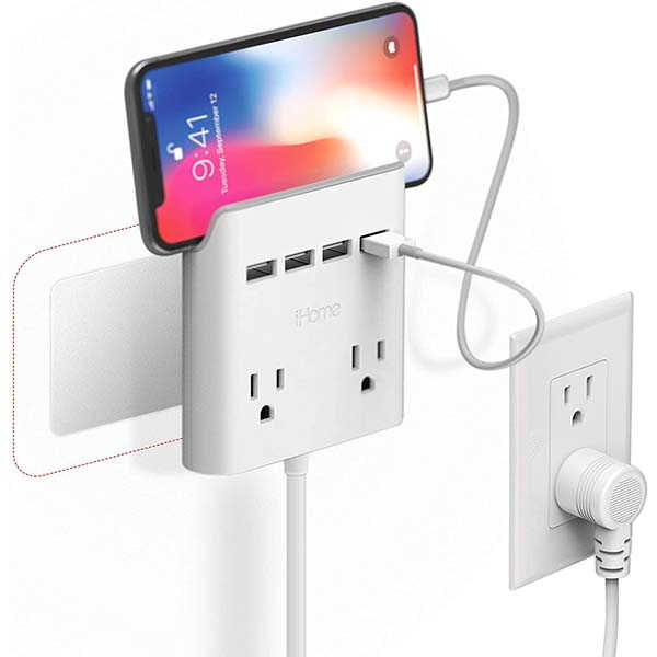 iHome Power Reach Outlet Extender with USB Charger