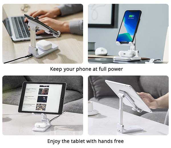 KIKR S1 Foldable Phone Stand with Dual Wireless Chargers
