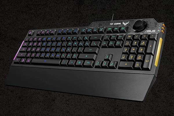 ASUS TUF K1 RGB Mechanical Gaming Keyboard with Volume Knob and Wrist Rest