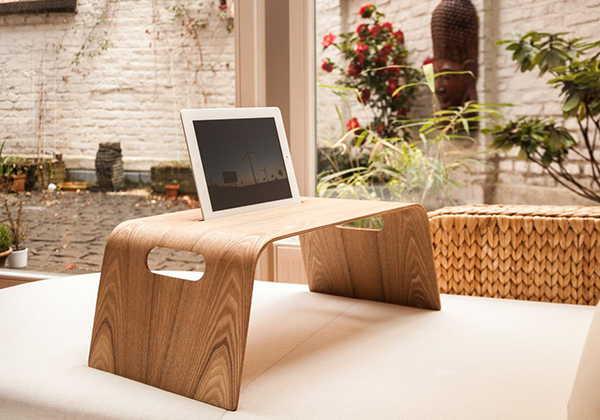 Bracket Handmade Wooden Lap Desk with Tablet Holder