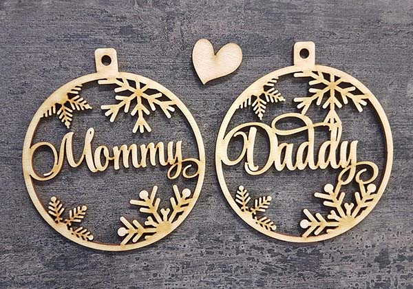Handmade Personalized Wooden Christmas Ornaments