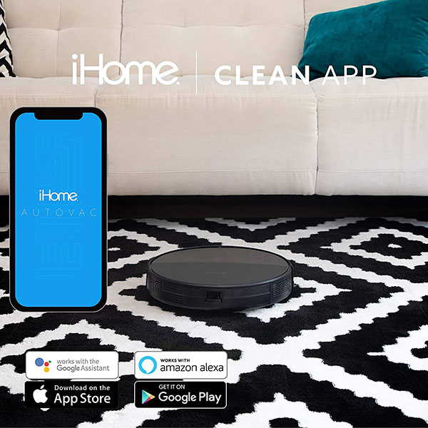 iHome AutoVac Eclipse 2-In-1 Robot Vacuum and Mop Supports Amazon Alexa and Google Home
