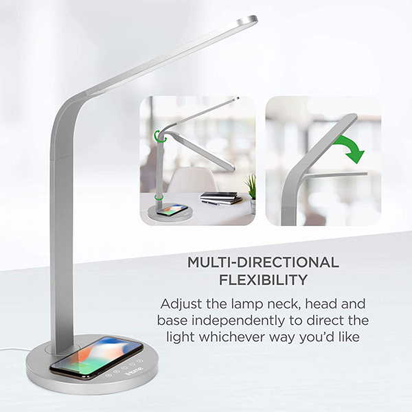 iHome Flex Neck LED Desk Lamp with Wireless Charging Pad