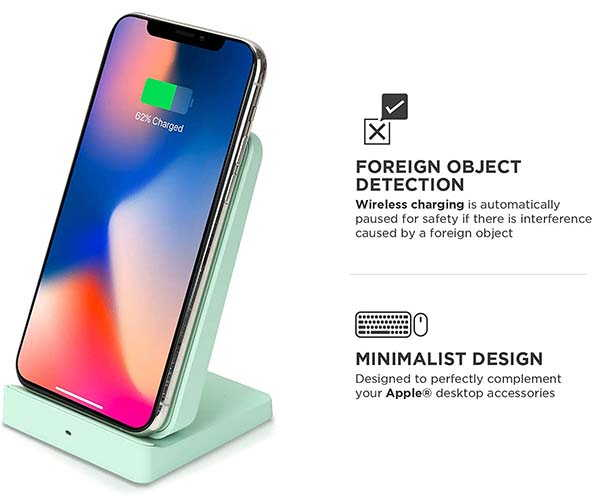 iHome Wireless Charging Stand with Dual USB Wall Charger
