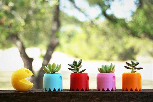 Pac-Man and Ghost 3D Printed Planters