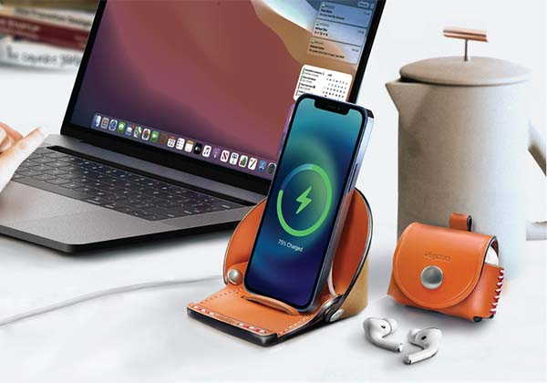 VogDUO Leather iPhone Stand and AirPods Leather Case