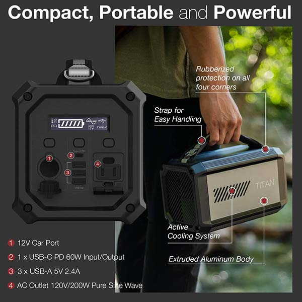 X-Doria Raptic Titan Portable Power Station with 225Wh of Capacity