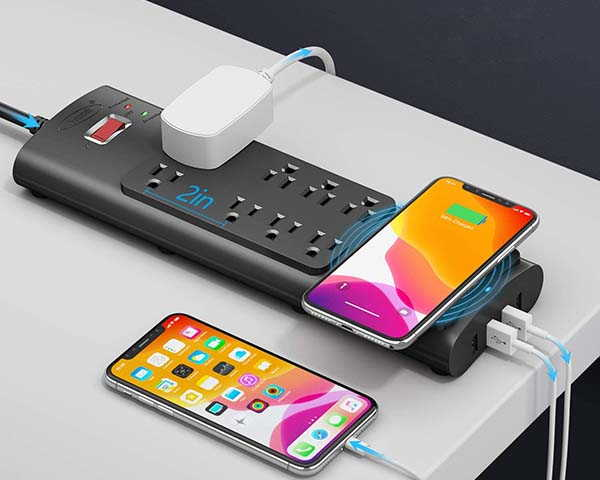 Bototek Surge Protector with Wireless Charger and 4 Charging Ports