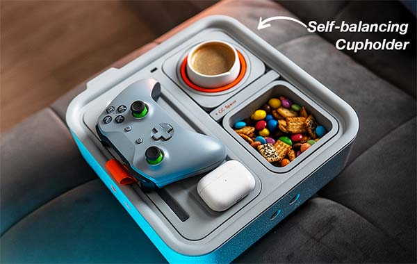 Couch Console Container with Self-Balancing Cupholder, Snack Holder, Phone Stand and More
