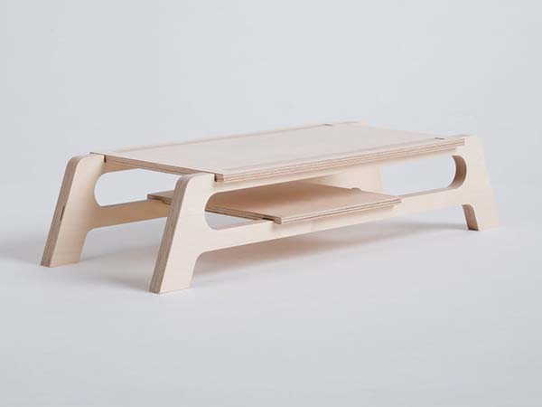 Debridge Handmade Wooden Monitor Stand with Two-Layer Design