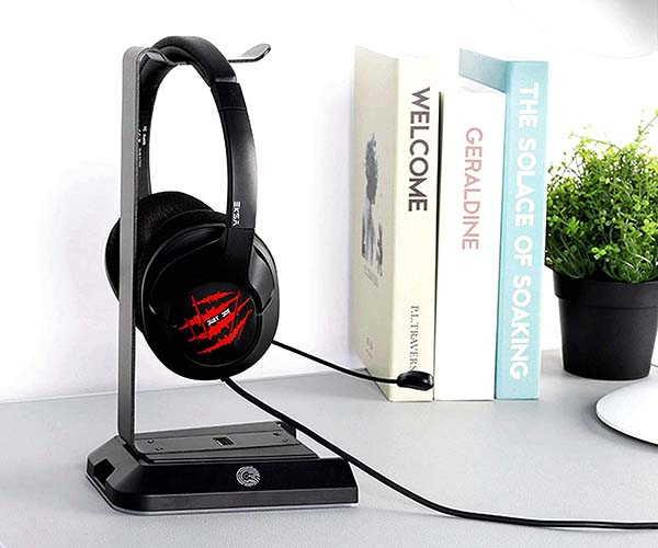 EKSA RGB Gaming Headset Stand with USB Hub and Audio Output