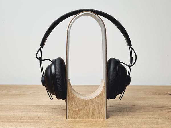 Handmade Arch Aluminum Headphone Stand with Wooden Base