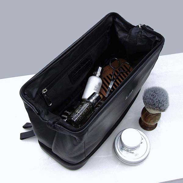 Handmade Mens Black Leather Toiletry Bag with Personalization