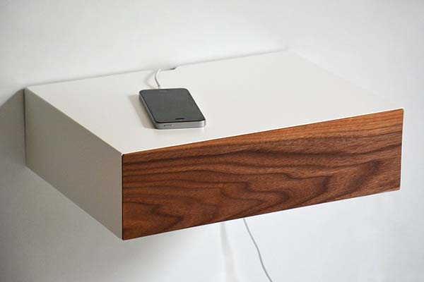 Handmade Minimal Floating Nightstand with Walnut Drawer