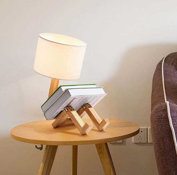 Handmade Robot Inspired Wooden LED Desk Lamp with Articulated Structure