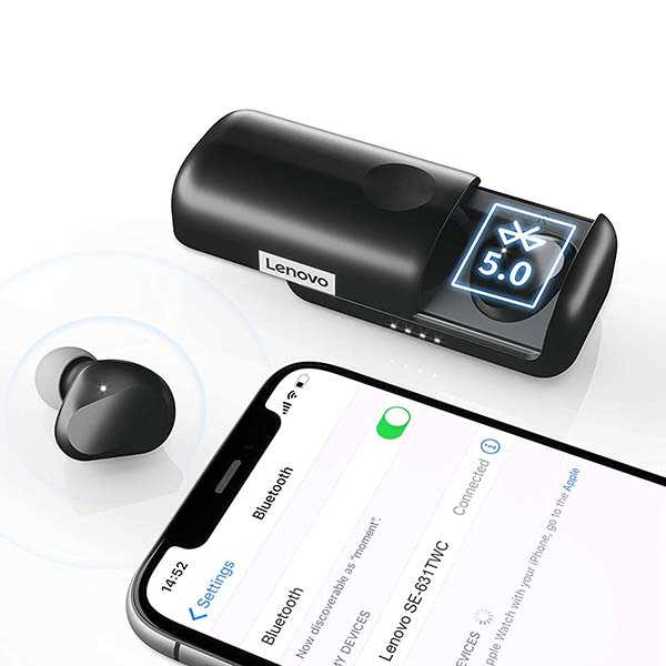 Lenovo True Wireless Bluetooth Earbuds with IPX5 Water Resistance