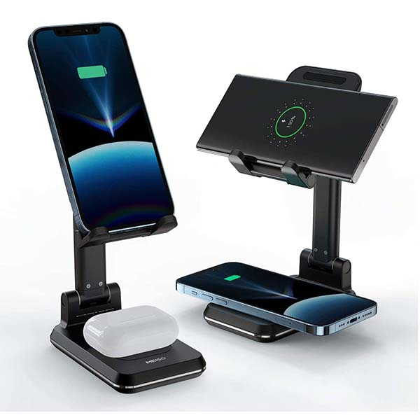 Meiso 2-In-1 Dual Wireless Charging Stand with Foldable Design